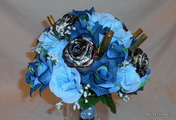 Buy Camo Bouquet Blues and Shells by bouquetsbykeepsakes. Explore more products on http://bouquetsbykeepsakes.etsy.com