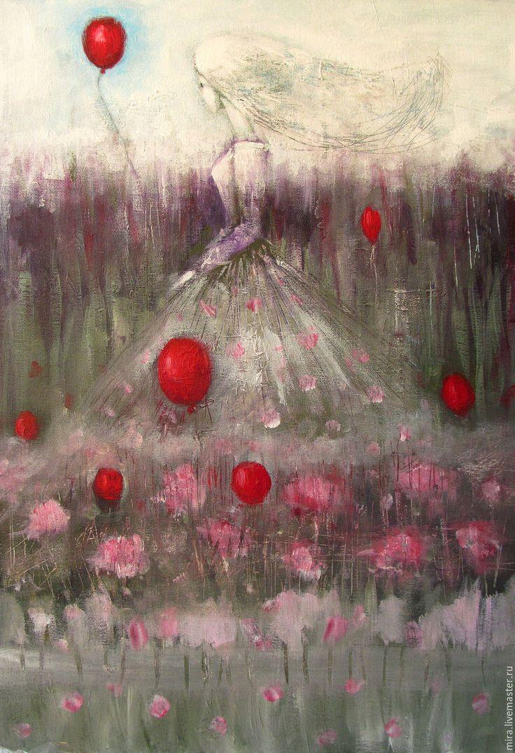 Купить Отпускающая красный шарик - платье, девушка, женщина, подарок, настроение, картина, интерьер, Живопись
