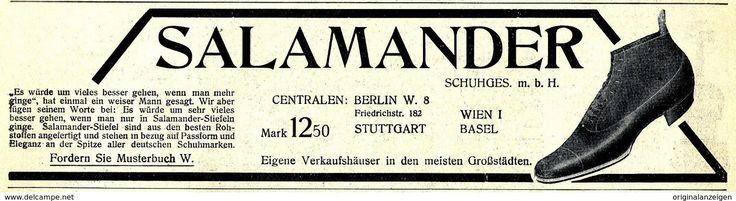 Werbung - Original-Werbung/ Anzeige 1908 - SALAMANDER - SCHUHE - ca. 180 x 50 mm