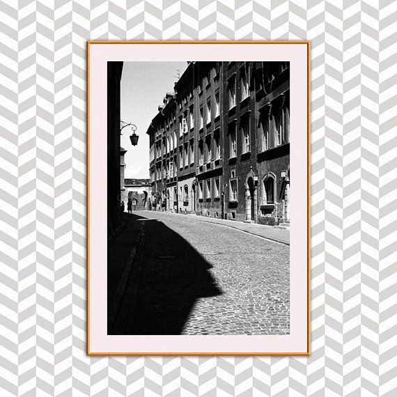 Poland Crooked Cobblestone Street Photograph Old by Lettherebelife