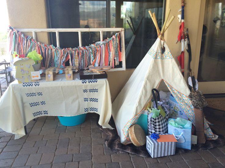 Tribal baby shower.. I like the gift teepee!