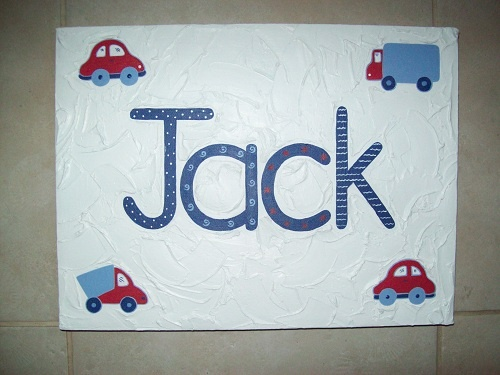 Handpainted Boys name canvas'  30cm x 40cm  $55- + postage  Custom made to suit individuals decor