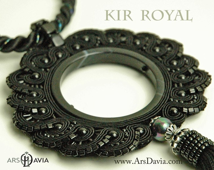 Soutache around a circle form ~ first time I've seen this ~ unique and I love the black.