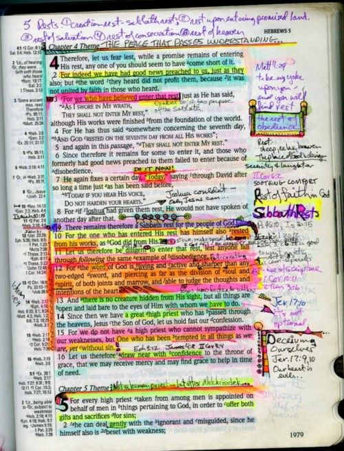"""My Bible isn't this colorful (I use regular pens & pencils) but it's just as """"marked up"""".....like Paul said:  """"Read, MARK, learn and inwardly digest..."""""""