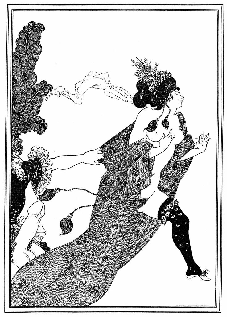 Aubrey Beardsley - 'Lysistrata', 1896. Beardsley often appropriated forms from continental pornography, but subverted them to present women as confident sexual subjects, not objects. This is echoed in his choice of subject material, as with Wilde's 'Salome' or this satirical play by Aristophanes. Beardsley was also a vocal personal and artistic champion of the independent 'New Woman' archetype which emerged in the late 19th Century and is explored in the work of Ibsen, James and others.