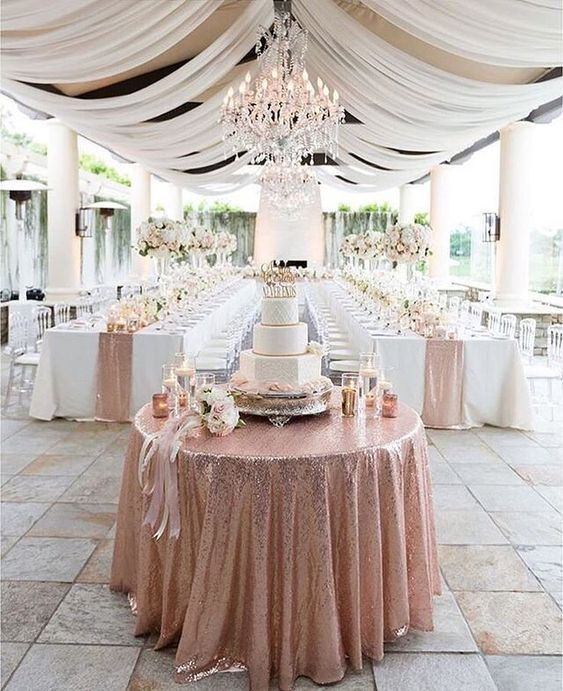 50+ Prettiest Spring Wedding Color I deas---rose gold table runners, wedding cakes, wedding reception settings