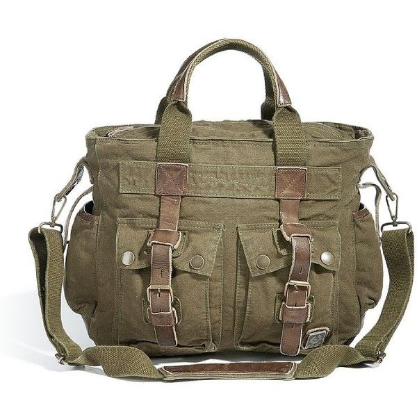 BELSTAFF Military Green Tote Bag 574 (795 BRL) ❤ liked on Polyvore featuring bags, handbags, tote bags, brown leather tote bag, genuine leather handbags, leather handbag tote, leather tote and leather purses