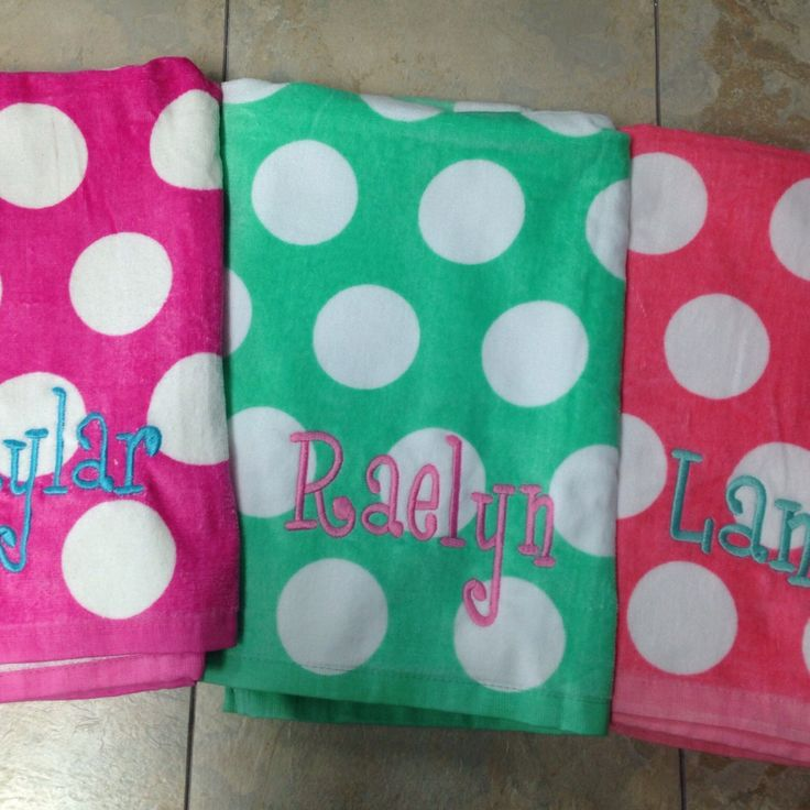 Personalized beach towel in really cute colors.