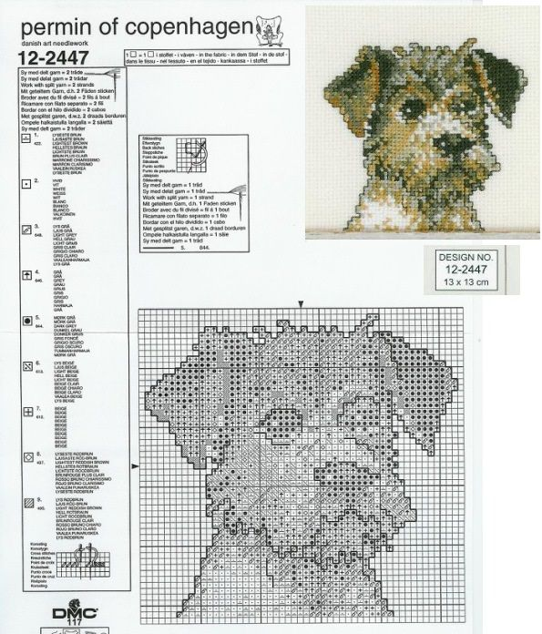 0 point de croix grille tête petit fox terrier