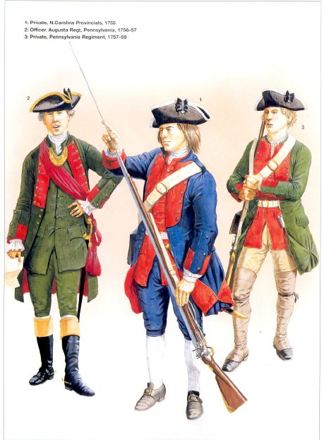 French And Indian War Provincial Uniforms Provincial regiments l to r