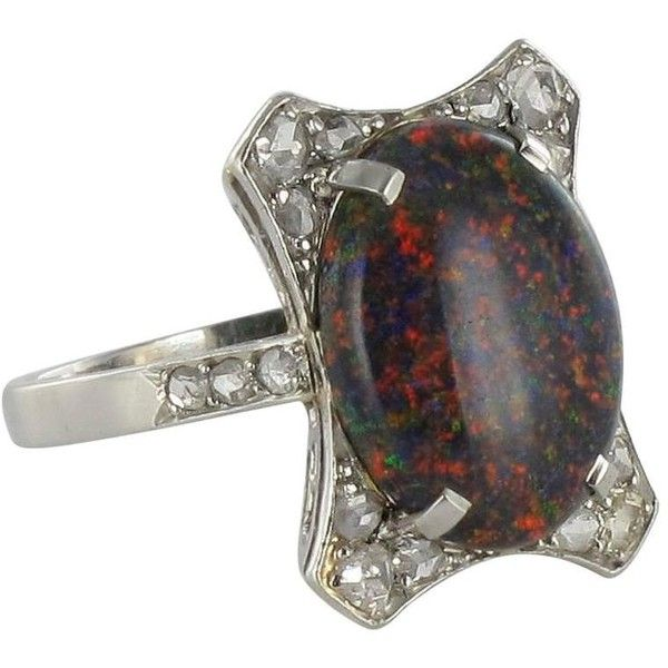 Preowned Art Deco Black Opal Diamond Platinum Ring (6,935 CAD) ❤ liked on Polyvore featuring jewelry, rings, black, engagement rings, antique opal rings, antique platinum rings, opal rings, pre owned engagement rings and antique engagement rings