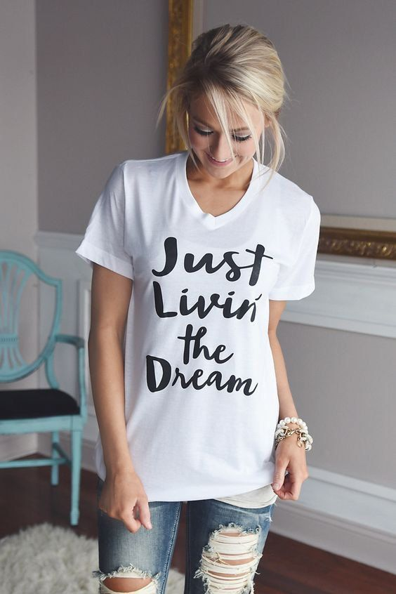 Livin the Dream Fashion Humor Graphic Tee Shirts by Emtizee