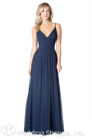 A simple and sophisticated long chiffon bridesmaid dress. Navy Bridesmaid Dresses. Bari Jay Bridesmaid Dresses.