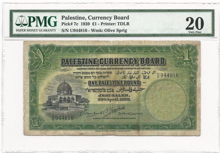 Palestine Currency Board 1939 £1, PMG 20 VF, British Mandate Pick #7c