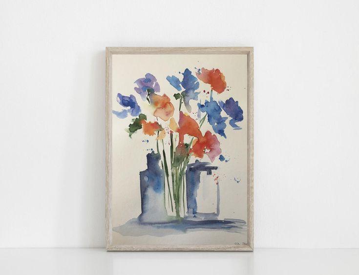 ORIGINAL AQUARELL Aquarellmalerei Bild Kunst lila Blumen in der Vase Aquarell Blumen abstrakt