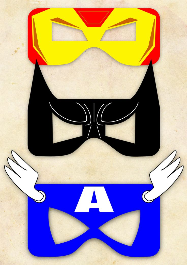 Superhero Mask Cut-out  - Iron Man, Batman, Captain America - Choose One. £1.80, via Etsy.