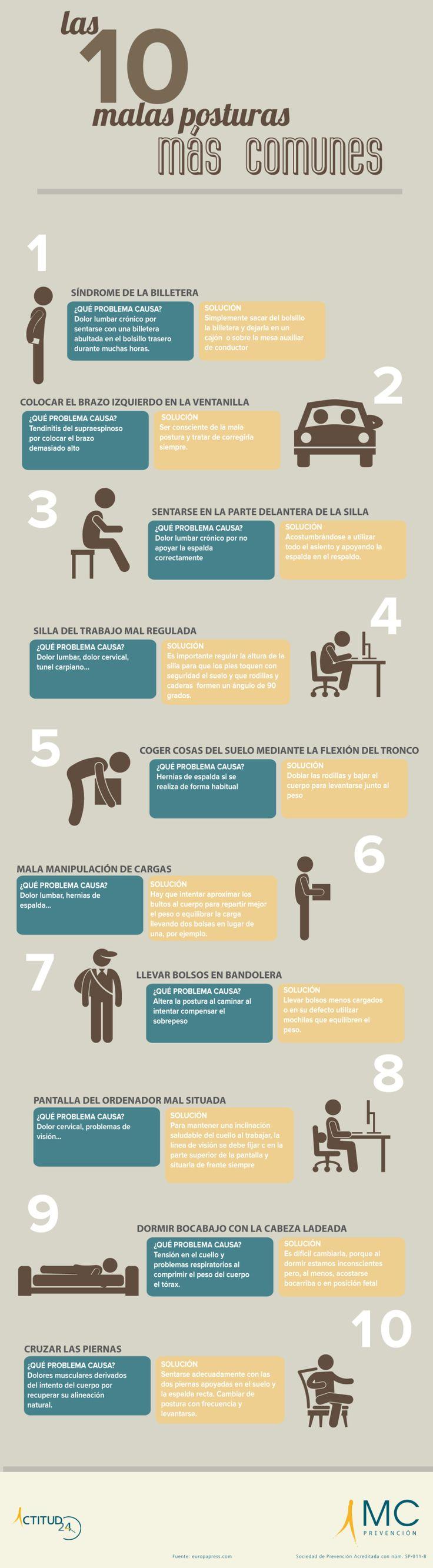 10 malas postura que producen dolores musculares