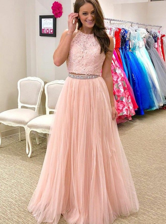 1d77a9d4095 Two Piece Round Neck Pink Tulle Prom Dress with Lace Beading ...