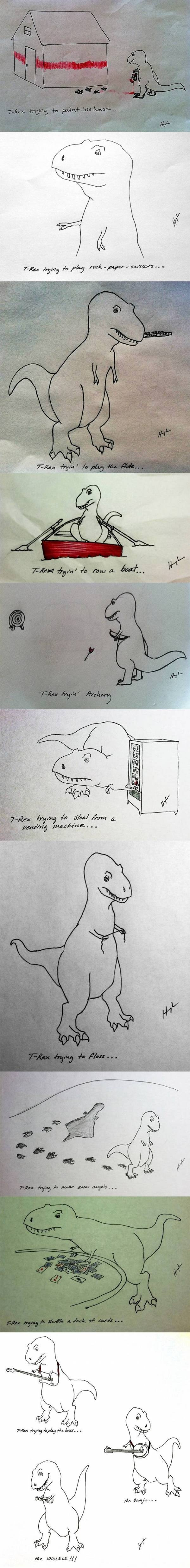 """T-rex trying things. This made me laugh more than it should've. :)"" I like the fact he can play ukulele. :D"