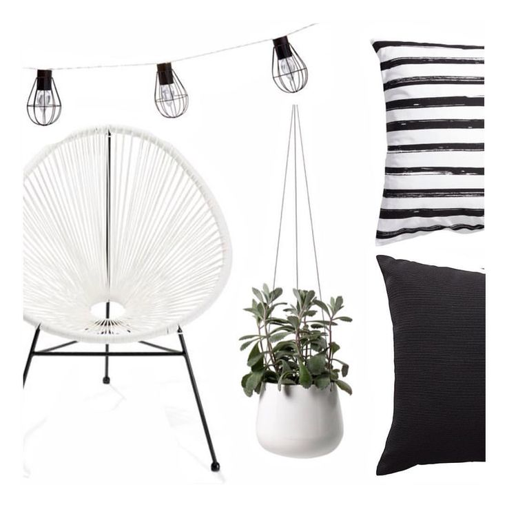 """The Bargain Diaries on Instagram: """"Wanting to decorate an outdoor area? Here are our picks for under $50. Chair and lights from Kmart, top cushion from H&M, bottom cushion from Target and planter from Ezi Buy #outdoorliving #outdoors #homedecor #monochrome #bargain #moodboard"""""""
