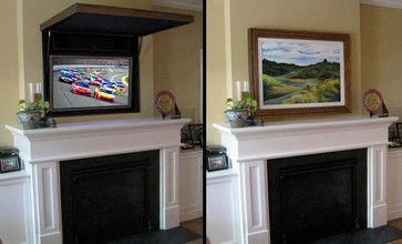 hidden tv over fireplace | Hiding a Flat Panel TV Above a Fireplace traditional-living-room Architectural Landscape Design