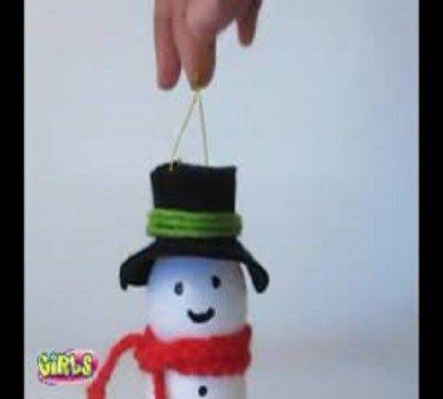 Membuat Snowman atau Boneka Manusia Salju dari Botol Bekas
