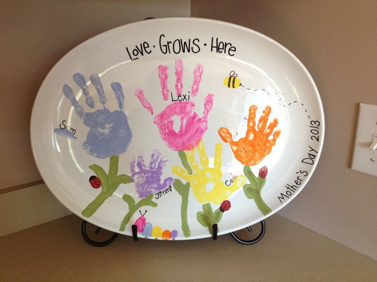 Mother S Day Plate We Made With Handprints And Thumbprints