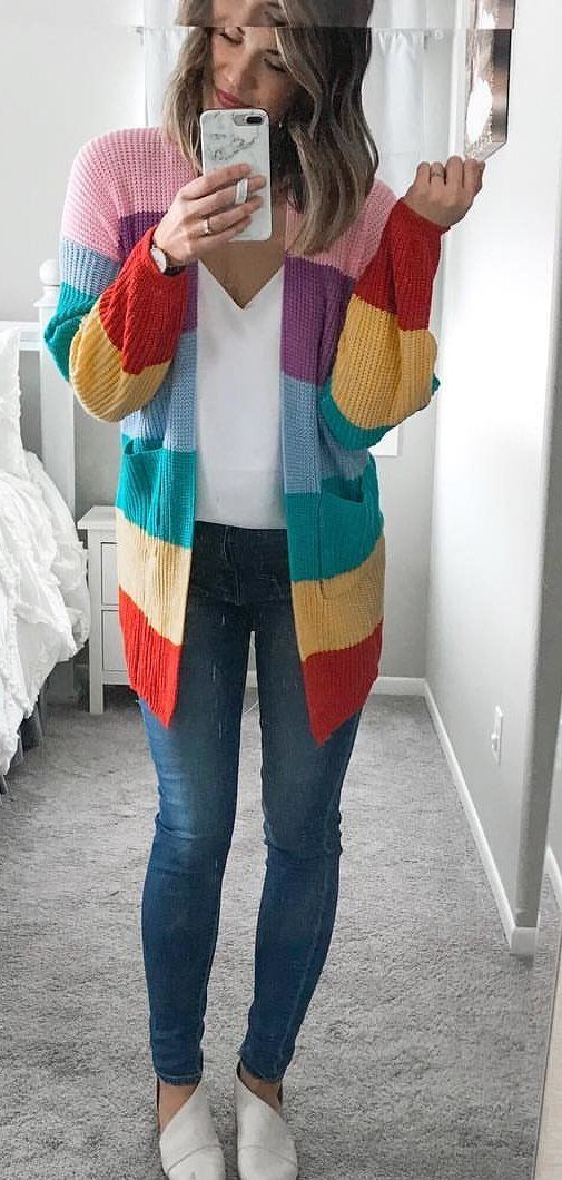 multicolored knit cardigan #spring #outfits