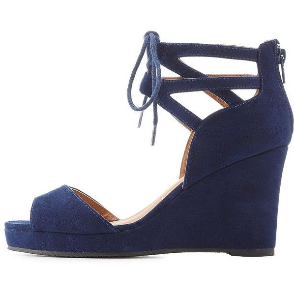 Charlotte Russe Lace-Up Platform Sandals ($33) ❤ liked on Polyvore featuring shoes, sandals, navy, open toe sandals, navy blue gladiator sandals, strappy sandals, strappy lace up sandals and navy blue sandals