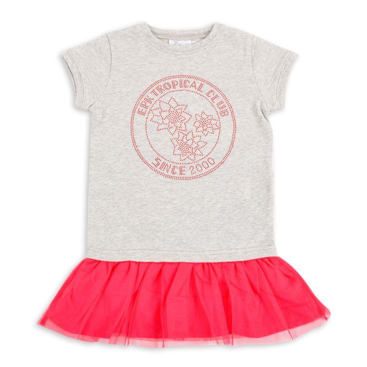 Vestido EPK para niña de color gris, con detalle de tachuelas brillantes color frambuesa al frente y falda de tul color frambuesa.