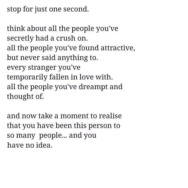 stop for just one second. think about all the people you've secretly had a crush on