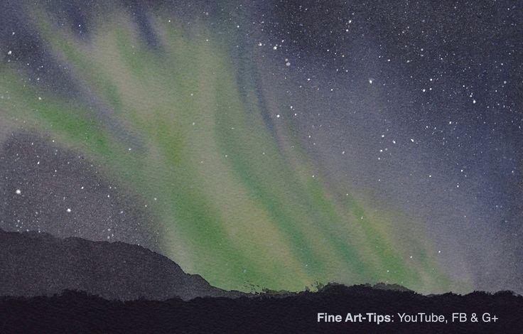 How to Paint an Aurora Borealis - Northern Lights - In Watercolor #art #painting #FineArtTips #auroraborealis #northernlights #watercolor #tutorial #artitsleonardo #LeonardoPereznieto #Patreon  Take a look to my book here:  http://www.artistleonardo.com/#!ebooks-english/cswd