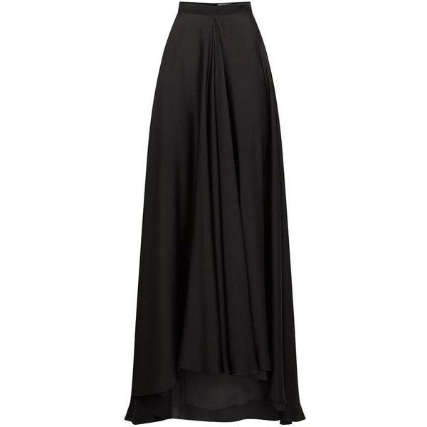 Lanvin Kick Pleat Long Skirt (17,020 MYR) ❤ liked on Polyvore featuring skirts, maxi length skirts, lanvin skirt, lanvin, kick pleat skirt and ankle length skirts