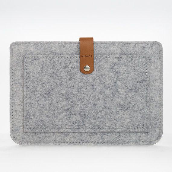 Etui iPad Feutre et Cuir  Etui avec Poche Frontale par NUACAshop