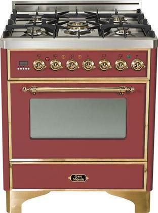 """UM-76-DMP-RB 30"""" Majestic Series Freestanding Dual Fuel Range with 5 Sealed Burners 3.0 cu. ft. Primary Oven Capacity Convection Oven Warming Drawer Brass Trim in Burgundy"""