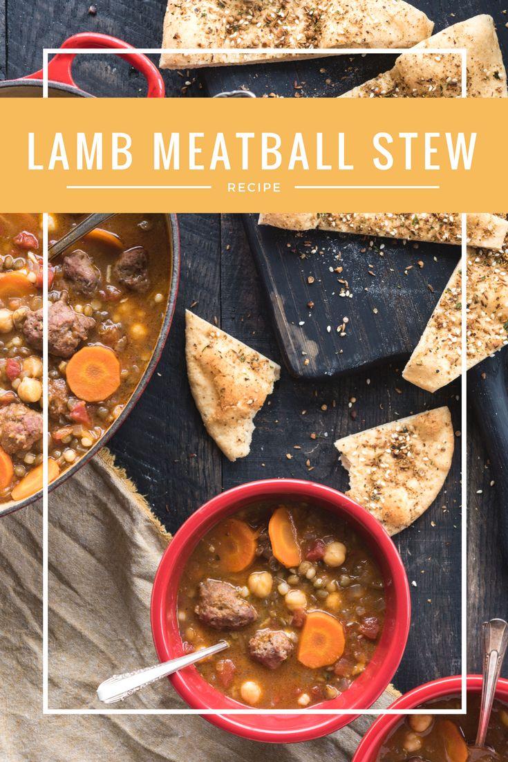 Lamb Meatball, Garbanzo Bean, Lentil and Tomato Soup