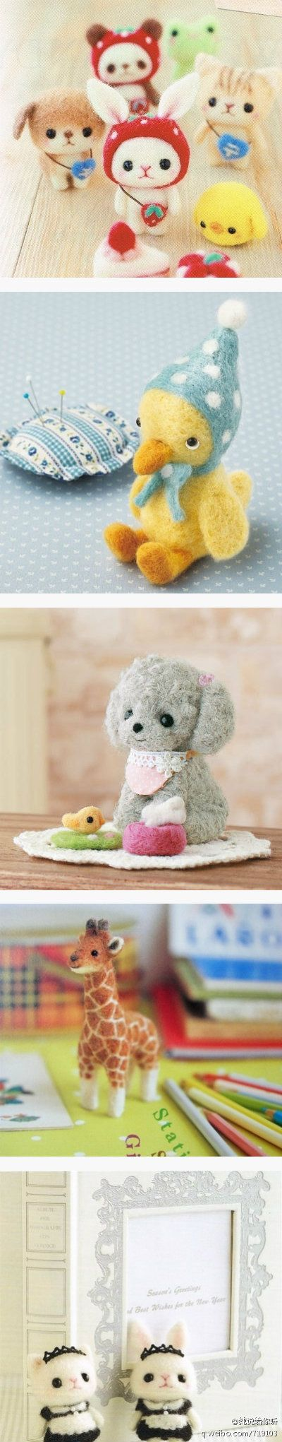 Cute collage of needle felted critters. Here is a bunch of inspiring ideas for needle felting.