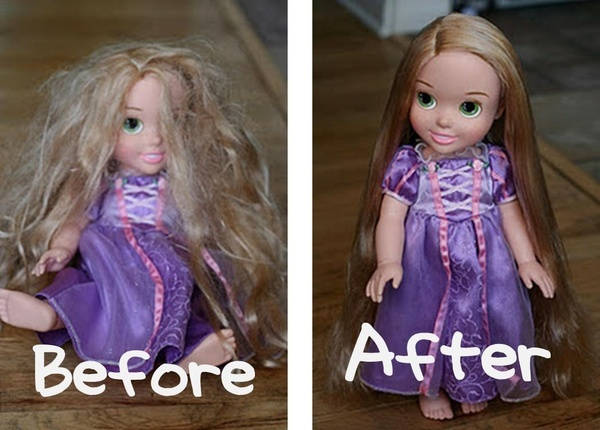 Parents of girls, take note. A small spray bottle with 2 TBSP of fabric softener, the rest water = Doll Hairspray. Easy method for smoothing and renewing any dolls hair. This is handy to know