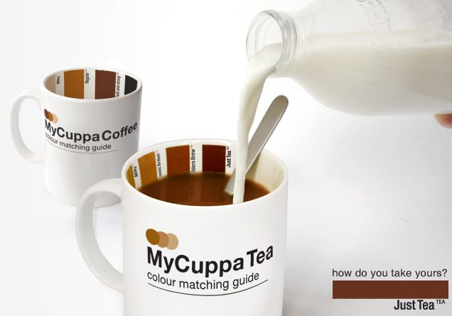 This mug has been created for tea & coffee lovers who crave the perfect cuppa every time they boil the kettle. Equipped with a colour matching guide on the inside to get your brew to just how you like it, from milky to builders brew and black.    Available in Tea or Coffee styles.    Design by Suck UK