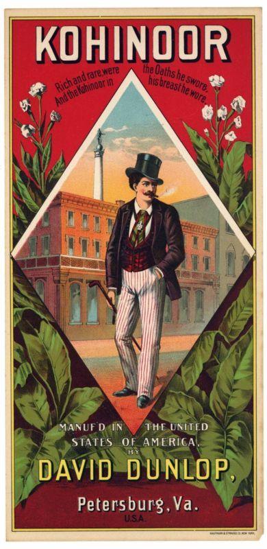 KOHINOOR Brand Vintage 1880's Tobacco Caddy Label, Original, 753