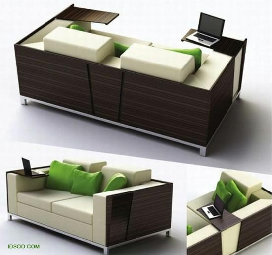 Cool couch with a pull out small table attached to it for Small pull out desk