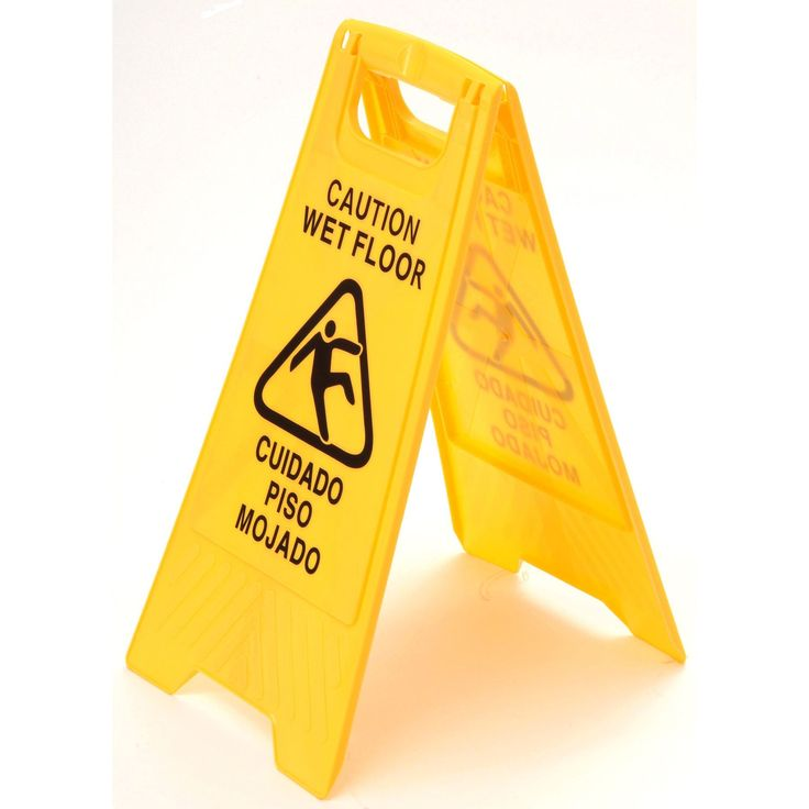 Laitner Brush Company 7202 Yellow Plastic Caution Wet Floor Sign (Caution Wet Flor Sgn)