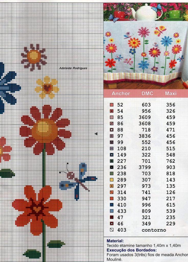 Oieee, bom dia, minhas amigas, vejam só que lindo esse gráfico de flores, fica muito bonito para bordar em uma toalha de mesa,já imaginou,...