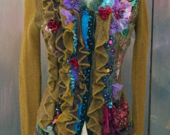 Forest path cardi, ornate, wearable art, bohemian romantic , altered couture, embroidered details