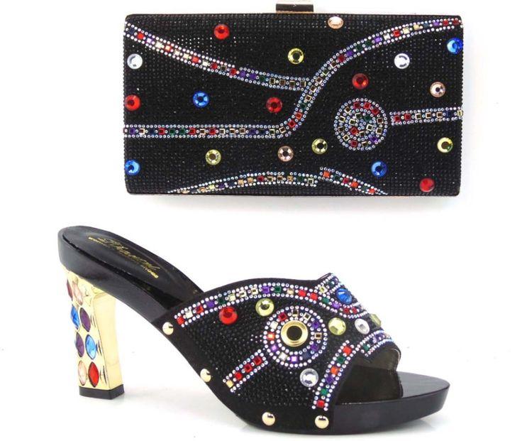 Edles Design Italien Mode Frauen Schuhe Und Taschen Zu Entsprechen Für Afrikanische Partei Oder Hochzeit Top Guality schwarz Farbe!! HQ1-1 //Price: $US $65.34 & FREE Shipping //     #cocktailkleider