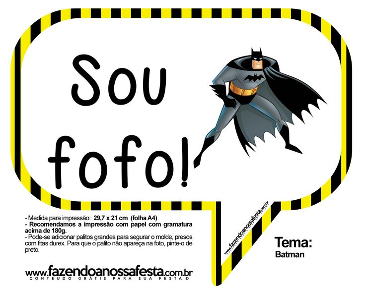 Plaquinhas Divertidas Batman: