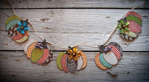 adorable scrap paper pumpkin bunting use shape:  buntingPumpkin_0819 to create this.