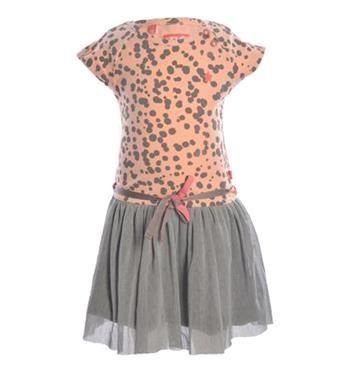 Flo jurkje met print all over en een laag mesh aan de onderzijde. Dit jurkje heeft korte mouwen en een ronde hals en is afgewerkt met een koordje in de taille. Be Cute Like Flo - Roze dessin - NummerZestien.eu