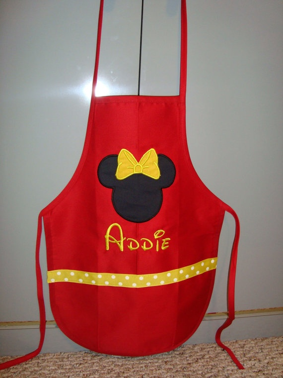 Customized Child's Minnie Mouse Apron by knorried001 on Etsy, $13.00