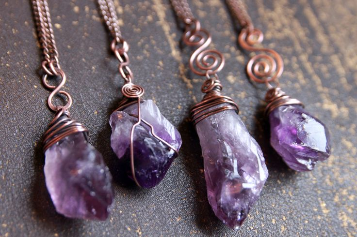 Rough Amethyst gemstone necklace. Raw purple crystal, antiqued copper wire wrapped pendant, amulet legend energy spiritual chakra, boho yoga by CypriumJewellery on Etsy https://www.etsy.com/listing/226266108/rough-amethyst-gemstone-necklace-raw
